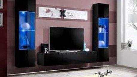 Obývací stěna AIR A3, černá matná/černý lesk