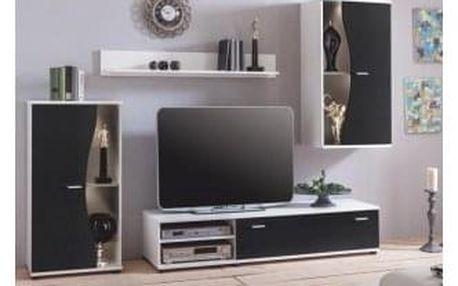 *Obývací stěna, bílá / černá, RUPOR