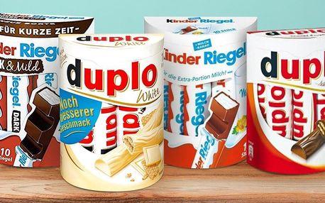 Čokoládové tyčinky Kinder a Ferrero Duplo