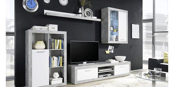Obývací stěna, bílá / beton, KLARK2