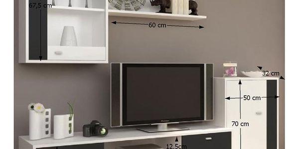 Obývací stěna, bílá / černá, GENTA2