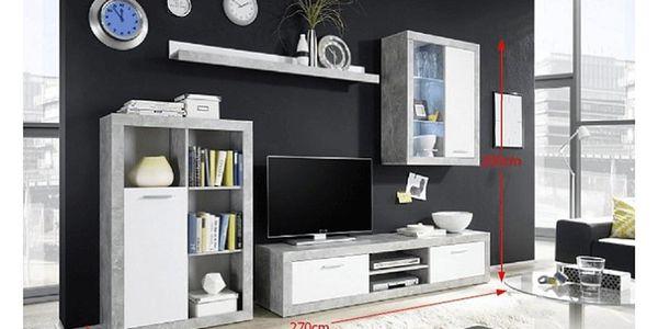 Obývací stěna, bílá / beton, KLARK3