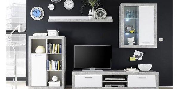 Obývací stěna, bílá / beton, KLARK4