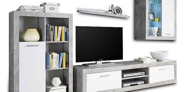 Obývací stěna, bílá / beton, KLARK5