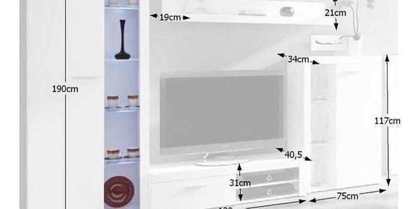 Obývací stěna, bílá, ROCHESTER4