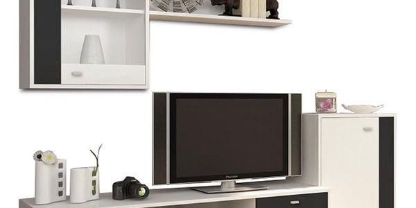 Obývací stěna, bílá / černá, GENTA4