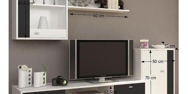 Obývací stěna, bílá / černá, GENTA5