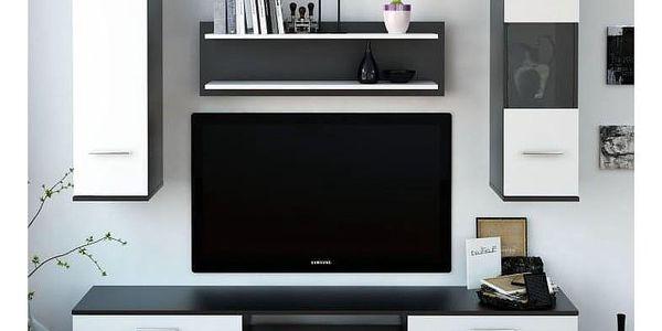 Obývací stěna, černá / bílá, WAW2