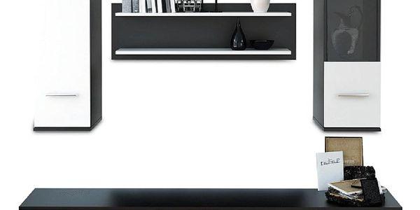 Obývací stěna, černá / bílá, WAW4