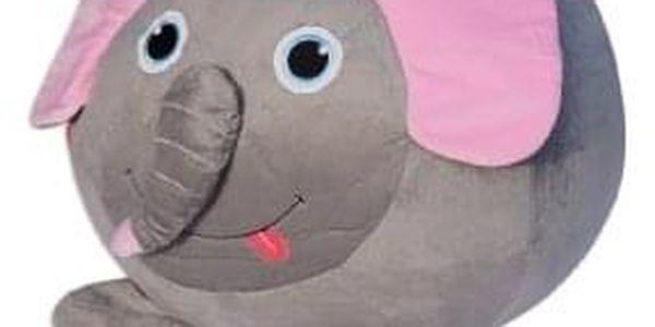 Sedací vak slon Dumbo, šedá/růžová