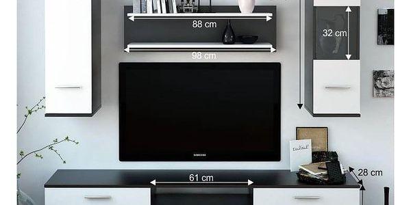 Obývací stěna, černá / bílá, WAW5