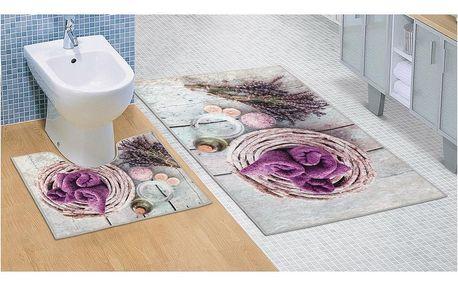 Bellatex Koupelnová sada 3D tisk Levandule, 60 x 100 cm, 60 x 50 cm