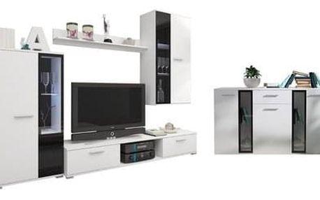 Obývací stěna s komodou OSCAR bílá Bez LED osvětlení
