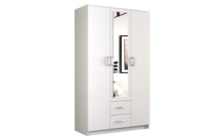 Šatní skříň Romana se zrcadlem 160 cm bílá