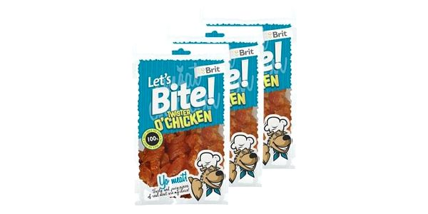 3x Brit Let's Bite! Twister O'Chicken (à 80 g)2