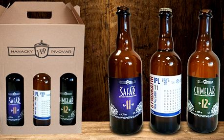 Tři piva z Hanáckého pivovaru v designových lahvích