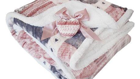 Homeville Homeville srdíčková deka s beránkem MOLLY 140x200cm - šedá/růžová