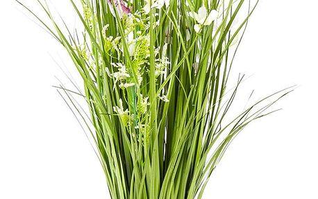 Vazba umělých lučních květin s kopretinami, 70 cm, bílo-růžová