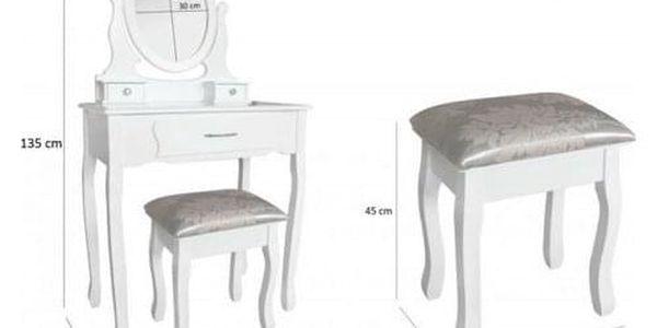 Toaletní stolek s taburetem Sofia,135 x 71 x 40 cm3