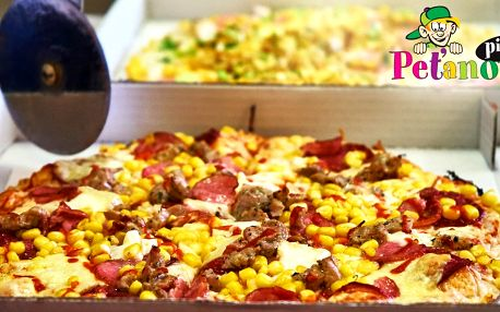 Dvě poctivé Peťanovy pizzy s rozvozem, 14 druhů