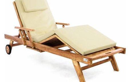 Divero 40996 Luxusní polohovatelné zahradní lehátko + polstrování