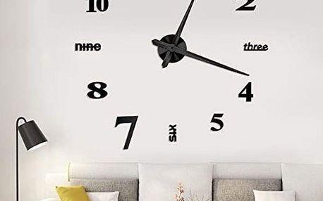 Nástěnné 3D hodiny v černé barvě - dodání do 2 dnů