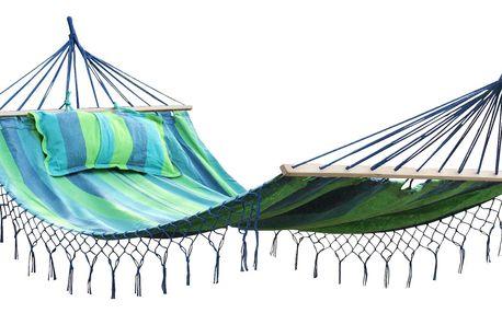 DIMENZA prostorná zahradní houpací látková síť MAXI pro dvě osoby snosností až200kg. Barva: modrá s pruhy