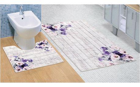 Bellatex Koupelnová sada 3D tisk Fialová kytice, 60 x 100 cm, 60 x 50 cm