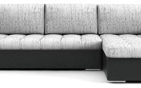 Rozkládací rohová sedací souprava VEGAS 250/160 Světle šedá/černá eko-kůže Pravá