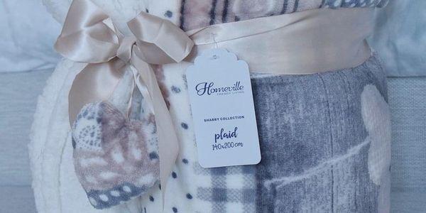 Homeville Homeville srdíčková deka s beránkem HOLLY 140x200cm - šedá/béžová2