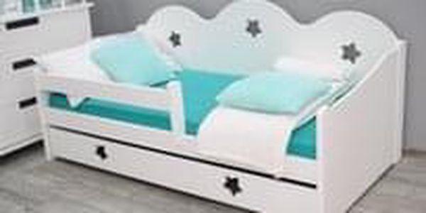 Dětská postel Miki 80x160, borovice + rošt a úložný prostor, bílá