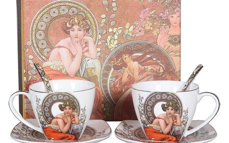 Dárková sada porcelánového šálku s podšálkem a lžičkou Alfons Mucha, 2 ks