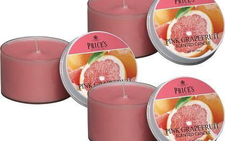 Price´s FRAGRANCE vonné svíčky Růžový grapefruit 3ks - hoření 25h
