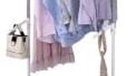 Stojan na šaty, bílá barva, kov / plast, chrom ABD-1212 WT