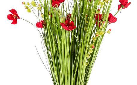 Vazba umělých lučních květin 80 cm, červená