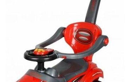 Ecotoys Dětské odrážedlo se zvuky a vodící tyčí Auto, červená