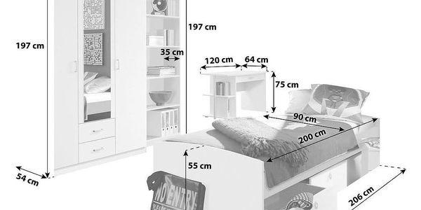 Jednolůžková Postel S Úložným Prostorem Point, 90x200 Cm2
