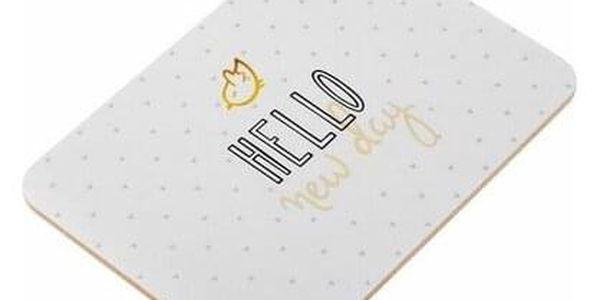 Dakls Korkové prostírání Hello New Day bílá, 29 x 21 cm, sada 2 ks