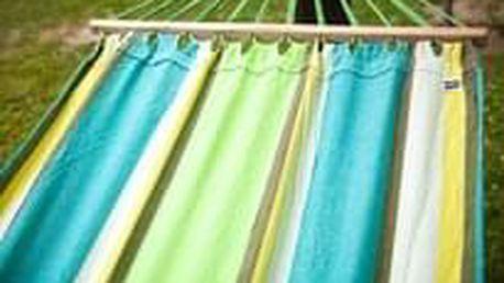 DIMENZA zahradní látková houpací síť s výztuhou v mnoha barevných provedeních Barva: zelená s pruhy