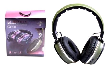 Bezdrátová sluchátka LED-002 zelená