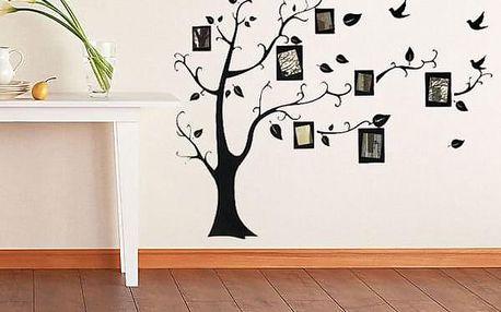 Nálepka na zeď v podobě stromu s fotorámečky - dodání do 2 dnů