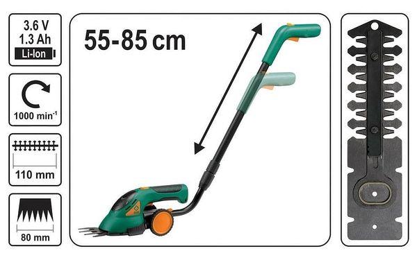 akumulátorové nůžky na trávu Flo 3,6V LiON s teleskopickou násadou4