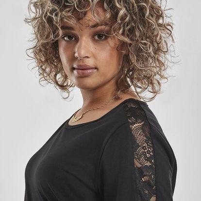 Ladies Lace Shoulder Striped Tee - black XL