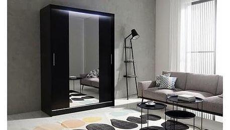 Kvalitní šatní skříň KOLA 4 černá šířka 150 cm Bez LED osvětlení