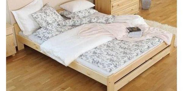 Vyvýšená masivní postel Euro 120x200 cm včetně roštu Olše4