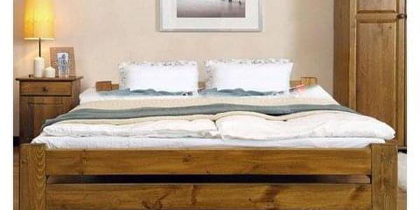 Vyvýšená masivní postel Euro 120x200 cm včetně roštu Olše5
