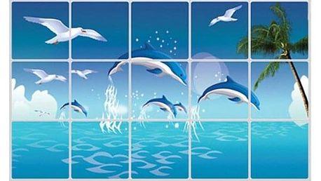 Samolepka na dlaždice s delfíny