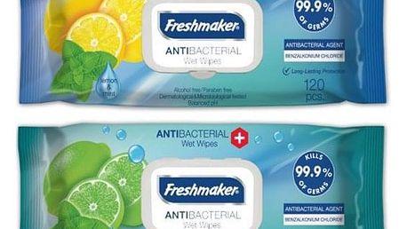 Freshmaker Antibakteriální vlhčené ubrousky na ruce a tělo Lime&Mint 120 ks