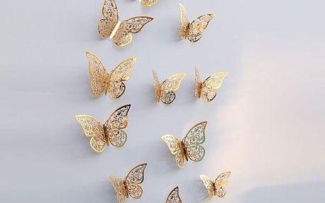 12 3D motýlků na zeď- 2 barvy/3 velikosti