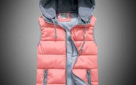 Dámská prošívaná vesta s odnímatelnou kapucí